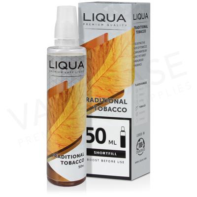 Traditional Tobacco Shortfill E-Liquid by Liqua 50ml
